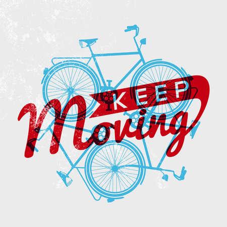 bicyclette: Continuez � vous d�placer notion affiche de v�lo avec r�tro grunge texture et de v�los silhouettes d�crire la conception. Vecteur EPS10. Illustration