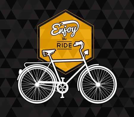 Bike manifesto concetto di tipografia, retro silhouette bicicletta con segno e godere il testo giro sul basso geometria sfondo poli. EPS10 vettore. Vettoriali