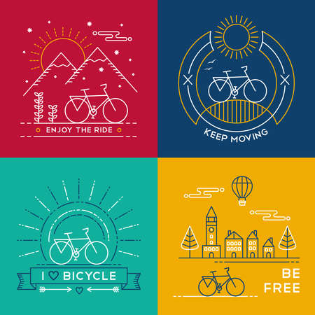 Set of bike poster designs in colorful line art style. Bicycle text quotes, nature, mountain and city elements. EPS10 vector.