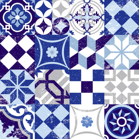 Vintage patchwork seamless pattern background with traditional blue tile decoration, classic mosaic style. EPS10 vector.