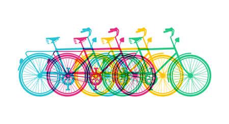복고풍 자전거 실루엣 배너 디자인, 역동적 인 다채로운 복고풍 자전거 개념 그림. EPS10 벡터입니다.