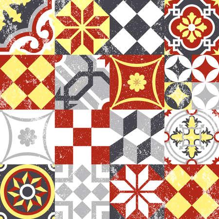 빈티지 패치 워크 원활한 패턴 배경 전통적인 타일 장식, 클래식 오리엔탈 모자이크 디자인. EPS10 벡터입니다.