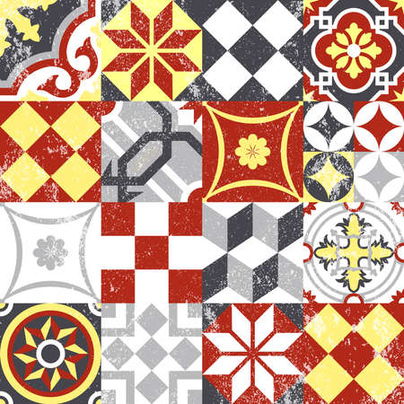 Vintage patchwork seamless pattern background with traditional tile decoration, classic oriental mosaic designs. EPS10 vector.