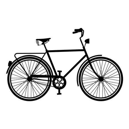 レトロな自転車のシルエット コンセプト、白い背景に分離された自転車の概要。EPS10 ベクトル。  イラスト・ベクター素材