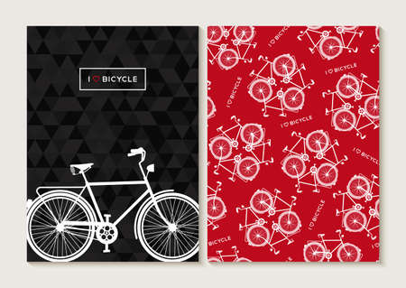 fond de texte: Concept de vélos rétro réglé. Seamless, conception de l'affiche avec la silhouette vélo de contour et étiquette de texte. Vecteur EPS10.