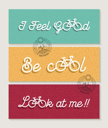 feel good: Bicycle concept banner label set. Motivation text quotes with bike outline elements and line art icon decoration. EPS10 vector.
