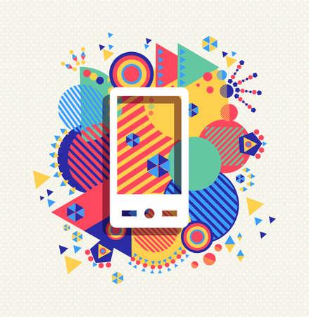 Téléphone mobile cellulaire icône App affiche illustration avec la géométrie vibrante colorée façonne fond. Social notion des médias.