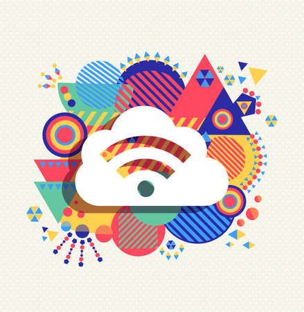 feed cloud computing icon poster design with colorful vibrant geometry shapes background. Social media concept.  Ilustrace
