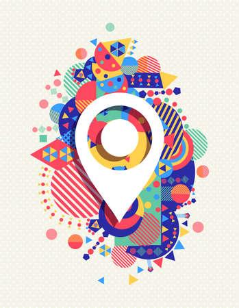 Gps wijzer kaartpictogram poster ontwerp met kleurrijke trillende geometrische vormen achtergrond. Social media concept. Vector Illustratie