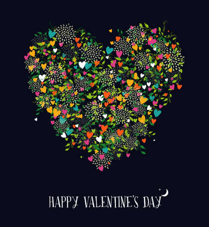 Happy Valentines day colorful poster or greeting card design. Heart shape silhouette made with nature elements, leaf and love flowers.