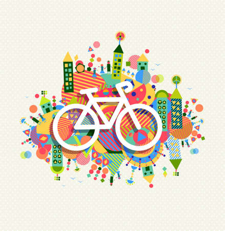 green city: Go green bike concept poster design. Vibrant colors geometric eco environment shapes with bicycle outline icon illustration.