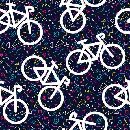 Bike retro naadloze patroon, fiets overzicht silhouet met 80 kleurrijke geometrie vorm achtergrond in Memphis stijl.