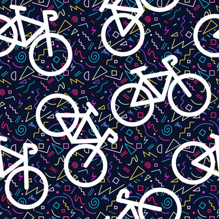 Bike retro seamless pattern, bicycle outline silhouette with 80s colorful geometry shape background in Memphis style.