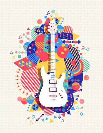 icona di chitarra elettrica, il design concetto di musica con la geometria vibrante colorato forme di sfondo.