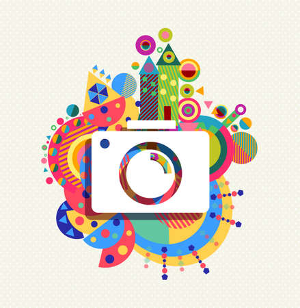 photography background: Photography Camera icon concept design with colorful vibrant geometry shapes illustration background.  vector.