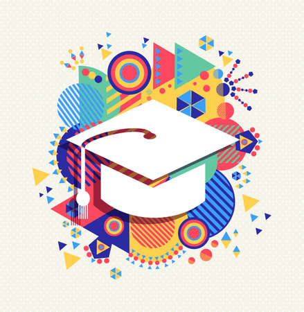 College graduation cap icon, school education concept design with colorful geometry element background. Ilustracja