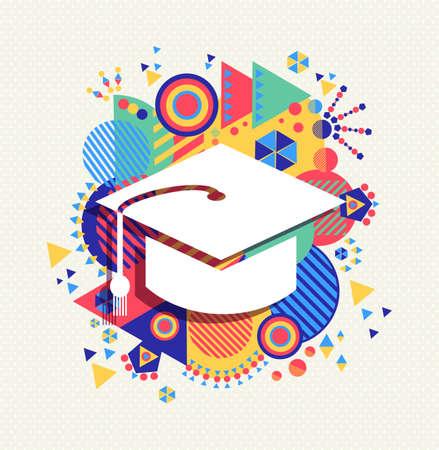 College graduation cap icon, school education concept design with colorful geometry element background. Vettoriali