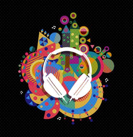dj headphones: DJ Headphones icon, music concept design with colorful vibrant geometry shapes background. Illustration
