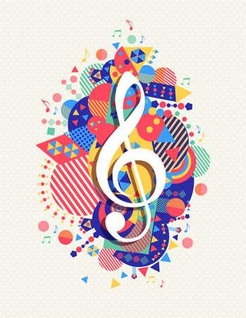 音楽メモ g 高音部記号アイコン コンセプト デザイン カラフルなジオメトリ要素の背景を持つ。