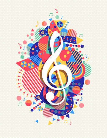 music poster: Music note g treble clef icon concept design with colorful geometry element background.