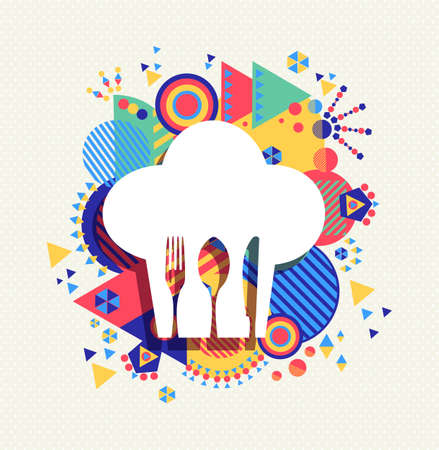 Chef hat, gourmet menu icon concept design with knife fork and spoon on colorful geometry illustration background. Vectores