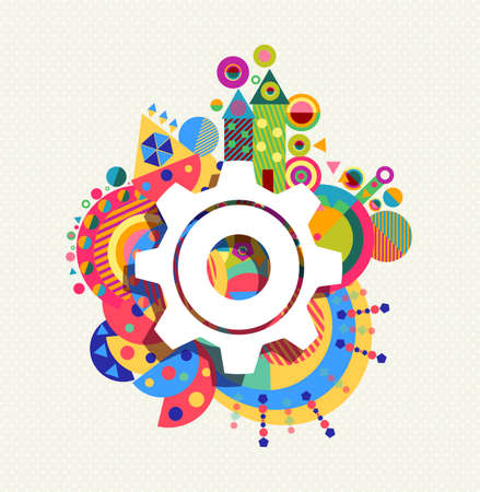 Gear wheel icon configuration concept design with colorful vibrant geometry shapes background. EPS10 vector. 矢量图像