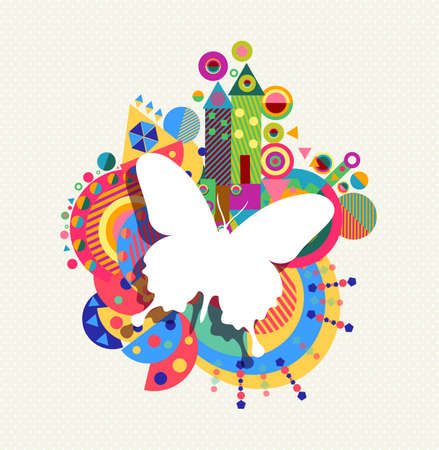 Butterfly icon, spring concept design with colorful vibrant geometry shapes background. EPS10 vector.
