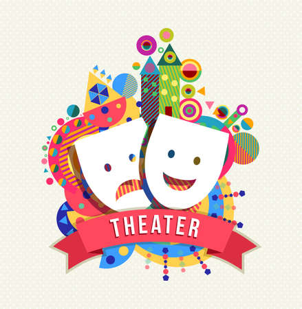 Theater mask icon concept design with text label and colorful geometry shape background. EPS10 vector.