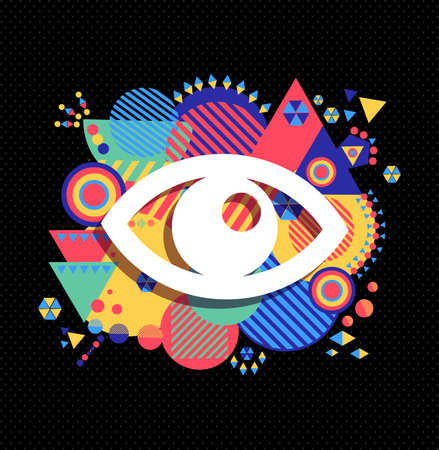 eye icon: Human eye icon, view concept design with colorful geometry decoration background. EPS10 vector. Illustration