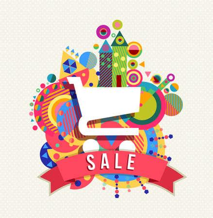 Pictogram van het boodschappenwagentje, verkoop concept met tekst label en kleurrijke geometrie vormen achtergrond. EPS10 vector.