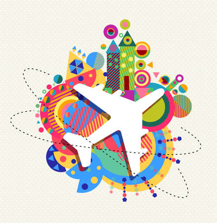 colorful abstract background: Air plane world travel icon concept design with colorful geometry decoration background. EPS10 vector.