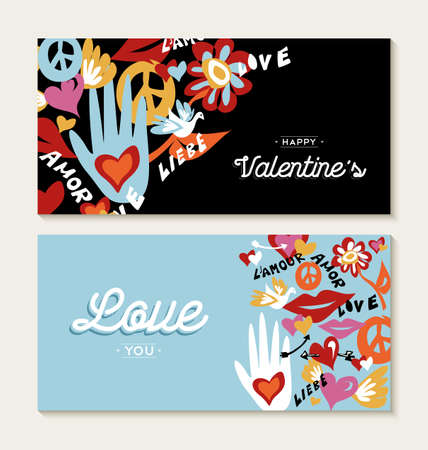 60s hippie: Valentines day set of greeting card designs with hand drawn hippie 60s decoration and peace elements. EPS10 vector.