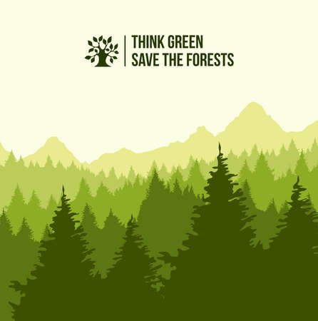Tree forest landscape with think green text. Eco friendly concept illustration. EPS10 vector.  イラスト・ベクター素材