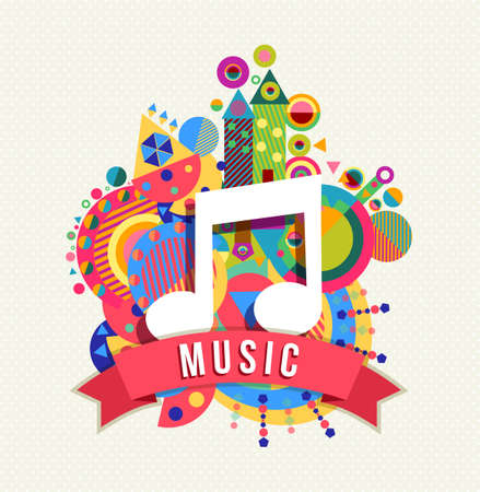 Music note icon, audio sound concept design with text label and colorful geometry shape background. EPS10 vector. Ilustração
