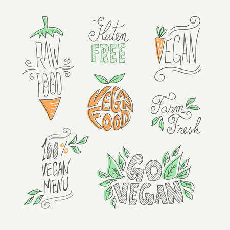 Set of hand drawn vegan food labels with text and doodle fruit decoration: farm fresh, gluten free and raw eating.