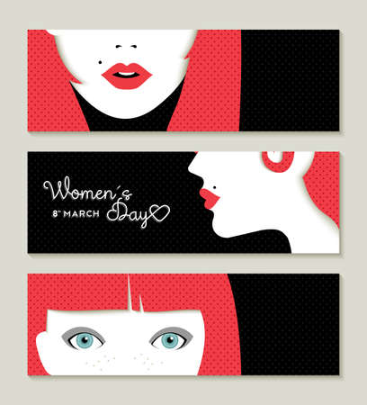 womens fashion: Banner set in celebration of International Woman Day with vintage style girl face illustrations.