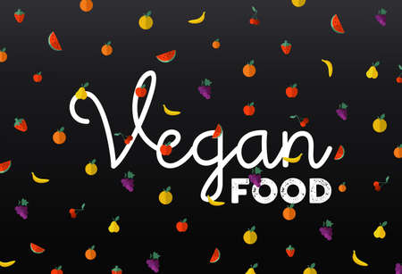 vegan food: Flat style fruit icons with vegan food text label, concept design.