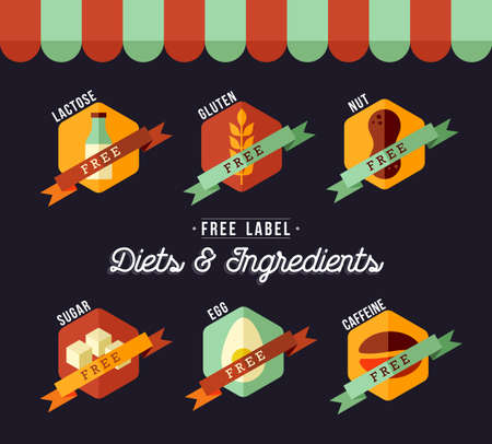 Etykiety żywności dietetycznej dla zdrowego odżywiania w mieszkaniu stylu z sklepami dekoracji. Zawiera laktozy, glutenu, kofeinę, cukier, jajko i nakrętki odznaki dowolny tekst.