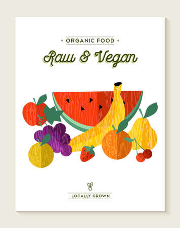 raw food: Raw fruits food concept illustration, banana, apple, orange in flat style. Organic and vegan text labels.
