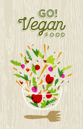 vegetable salad: Vegetable salad illustration with vegan food text and wood texture background.  vector.