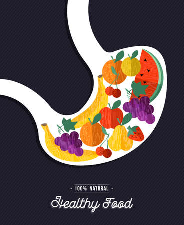 Healthy food eating concept illustration, x ray showing colorful fruits inside human stomach. vector.