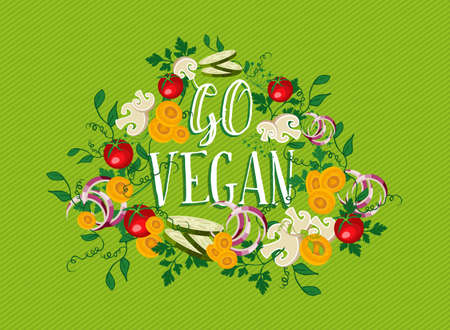Go vegan, food concept illustration with raw vegetables and nature elements.  vector.