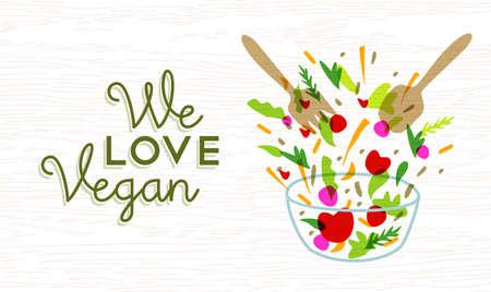 Nous aimons végétalien étiquette de texte de concept de restauration avec de la salade de légumes illustration et ustensiles. vecteur. Vecteurs