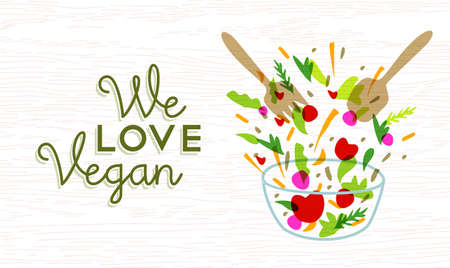 We love vegan food concept text label with vegetable salad illustration and utensils.  vector. Иллюстрация