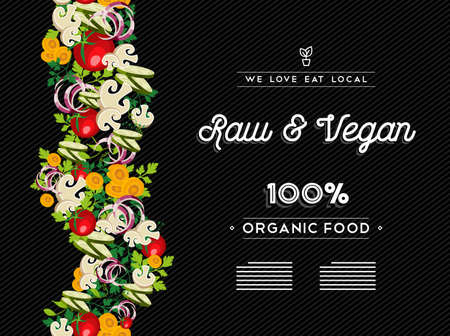 raw food: Raw vegan food restaurant menu template design with vegetable and text labels.  vector.