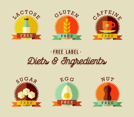 Set of food label designs in flat style for healthy eating. Includes lactose free, gluten, caffeine, sugar, egg and nut allergy badges.  vector.