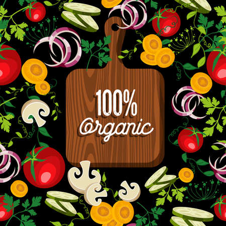 cutting board: Raw vegetables spread around cutting board with 100% organic text quote, concept illustration.  vector.