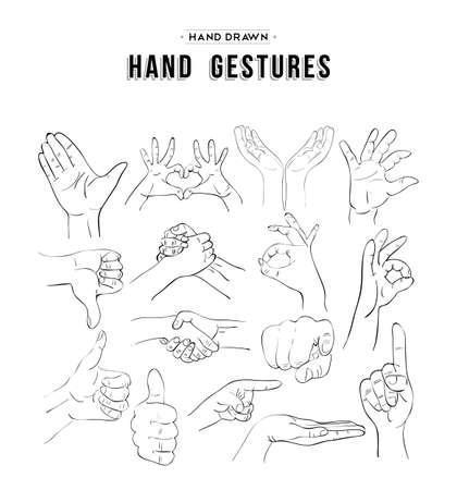 Handmade szkice zestaw znaków gest ręką. Uniwersalne ikony komunikacji społecznej. wektor.