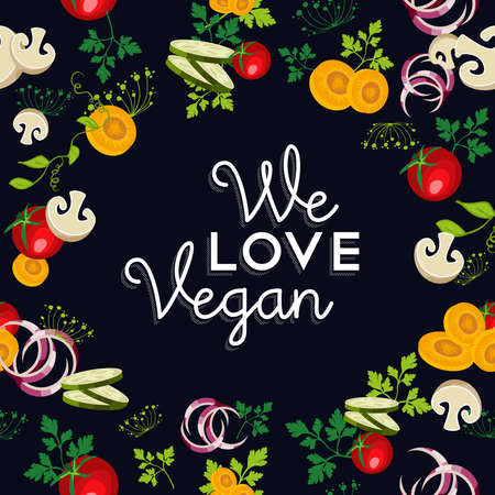 raw food: We love vegan food text with raw vegetables and ingredients illustration.  vector. Illustration