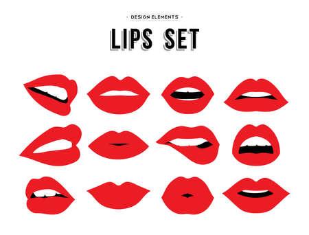 Frau Lippe Gesten gesetzt. Mädchen Mund close up mit rotem Lippenstift Make-up verschiedene Emotionen ausdrücken. Vektor.